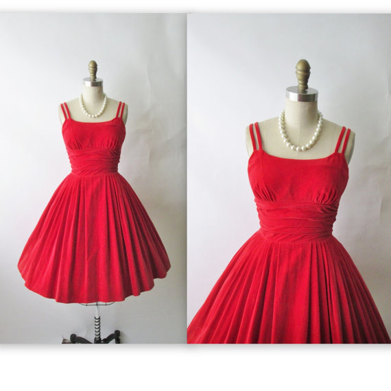 Dress vintage 1950 s red velvet cocktail party holiday christmas