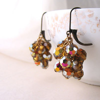 Autumn harvest chandelier earrings with vintage topaz vitrail crystals