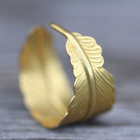 Feather Ring : Gold Infusion. Bohemian Gold Feather Wrap Ring, Feather Charm, Adjustable, Leaf, Simple, Casual, Yoga