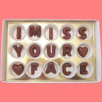 I Miss Your Face Large Milk Chocolate Letters-Long Distance Gift for Her Him-Made to Order