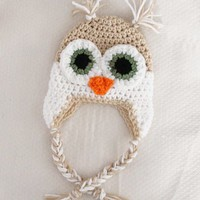 Crochet Baby Owl Ear Flap Hat Newbo.. on Luulla
