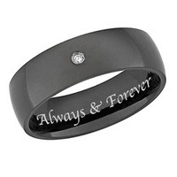 Black Titanium Men's Diamond Accent 'Always & Forever' Band | Overstock.com