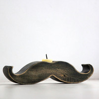 20% OFF Moustache / mustache candle holder - Rodrigez -  made out of solid wood hand sanded and painted with black acrylic paint