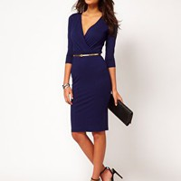 ASOS Pencil Dress With Wrap Front at asos.com