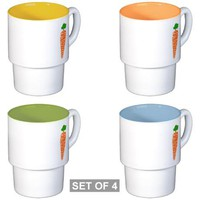 Welsh word for carrot - Moron Stackable Mug Set (4 on CafePress.com