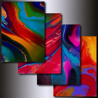 Black Friday Etsy Art: (4 Piece) Multi Coloured 5 x 7 Abstract Giclee Reproduction Print Set