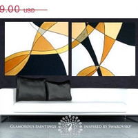 SERENITY extra large abstract painting on canvas - golden glitter abstract art diptych, large abstract wall art