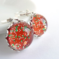 Red Glitter Earrings, Sparkly Earrings, Silver Leverback