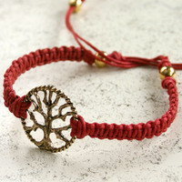 Tree of Life Friendship Bracelet Link On Cotton Cord
