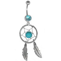 Turquoise Dream Catcher Navel Ring Belly Rings Body Jewelry-14g 3/8-Gifts for Women: Jewelry: Amazon.com