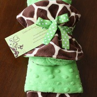 Baby Boy or Girl Giraffe Print and Lime Green by Gigglesandburps