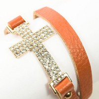 <title>Brown Leather Wrap Side Cross Bracelet</title>