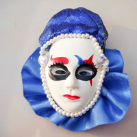 Vintage Jester Clown Mask Pin brooch Blue