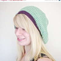 BLACK FRIDAY SALE Crochet Slouchy Beanie The Derby Square Hat in Sea Green and Purple
