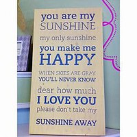 You Are My Sunshine Wooden Wall Board