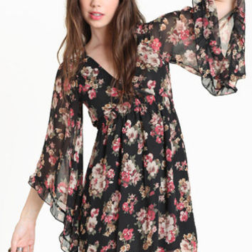 Spencer Bell Sleeve Floral Dress - $48.00 : ThreadSence.com, Your Spot For Indie Clothing  Indie Urban Culture