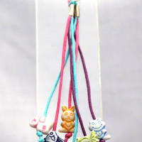 Phone Charm - Zipper Pull - Purse Charm Multi Colored Six Pastel Critters