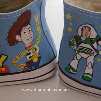 Hand Painted The Toy Story On Light Blue Converse Shoes COP02