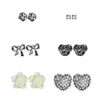 Rhinestone Heart Earring Set | Shop Accessories at Wet Seal
