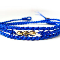 Electric Blue Rope and Golden Fire Polished Czech Glass Beads Woven Bracelet