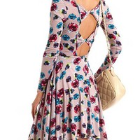 Bow-Back Floral Skater Dress: Charlotte Russe