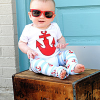 ANCHORS-2pc Onesuit/leg warmer set-You Choose white or red Onesuit-long or short sleeve-3/6,6/12,12/18,18/24mo