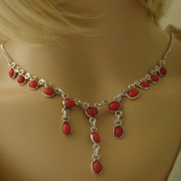 Authentic Red Agate Sterling Silver Necklace