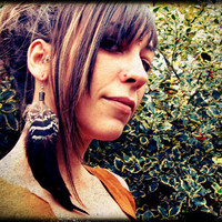 Handmade Long natural feathers Earring rooster peacock tribal bohemian hippie earthy