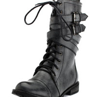 Charlotte Russe - Belt-Wrapped Grunge Boot