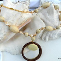 Mother of Pearl Jewelry Necklace with Eco Friendly Abaca Twine Beads