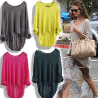 HOT Ladies Casual Batwing Round Neck Knitted Pullover Jumper Loose Long Sweater