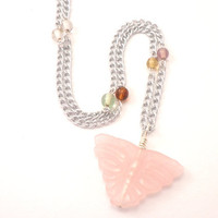 Rose Quartz Butterfly Chain Necklace - Long