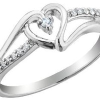 Amazon.com: Diamond Heart Promise Ring 1/10 Carat (ctw) in Sterling Silver: Jewelry