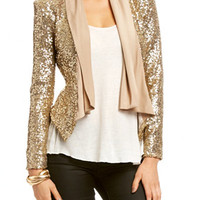 Shawl Collar Sequin Jacket