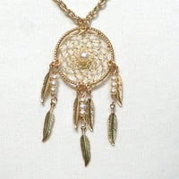 Dream Catcher Pearl &amp; Gold Dreamcatcher Necklace with Feathers