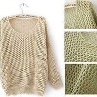Loose Knit Round Neck Sweater with Golden Threading Pullover S US 4-6 #TBU-Beige
