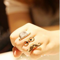 NEW Fashion Fun Cap Glasses Beard Shape Open Adjustable Ring Rings