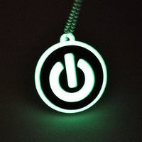 Glow in the Dark Power Button Necklace - Laser Cut Acrylic Fun