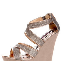 Dollhouse Spicy Rose Gold Mesh Metallic Platform Wedges
