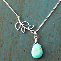 Silver Turquoise Drop and Branch Lariat Necklace Bridesmaid gifts wedding gifts
