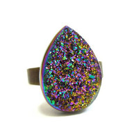 Titanium Quartz Rainbow Druzy Ring by AstralEYE on Etsy
