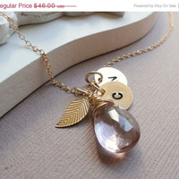 ON SALE Best Friends necklace, Personalized Gold Initial Charms, Pink Amethyst, leaf & TWO stamped letters, bridesmaid gift, Monogram brida