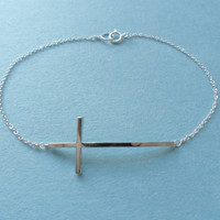 Cute Sideway Cross, Chic Sleek Modern, Sterling Silver, Bracelet