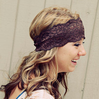 Brown Stretch  Lace Headband