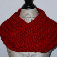 Crochet Infinity Scarf Cowl Extra Long Dark Red
