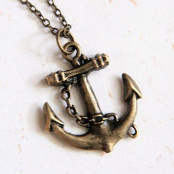 Anchor Necklace N186  Go Sailing by blingDIY on Etsy