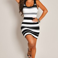 Sexy Black and White Barcode Cross-Strapped Back Mini Dress