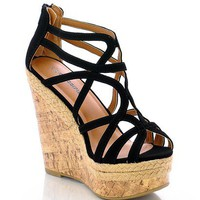 Stylish Black Strappy Open Toe Wedge Heel Sandal