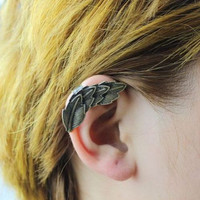 Unique Bronze Leaf Cuff Earrings wholesale