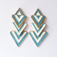Blue and White Color Blocking Geometric Dangle Earrings wholesale
